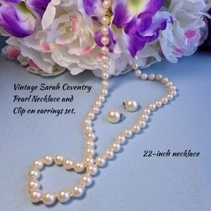 Vintage Sarah Coventry Pearl Necklace Earrings Set